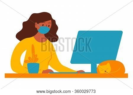 Woman Works On Computer At Home. Stay Home. Work From Home During Quarantine Social Distancing Perio