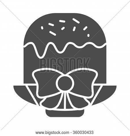 Easter Cake On Plate With Bow Solid Icon. Traditional Paschal Dessert With Glace Glyph Style Pictogr