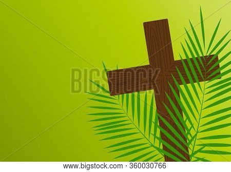 Cross And Palm Branches. Easter. Illustration Of The Wind. The Symbol Of Salvation. Hope