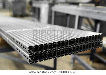 Bent Metal Profile Channel. Zinc Steel Profile At Bundle.