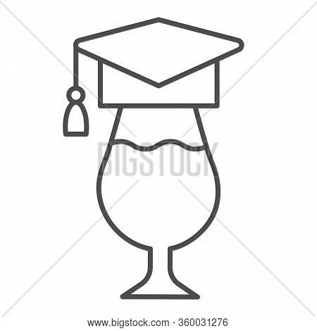 Graduation Hat And Wine Glass Thin Line Icon. Wineglass Wearing Academic Cap Outline Style Pictogram