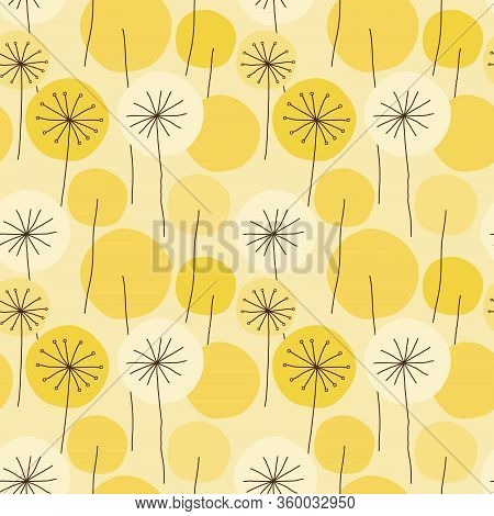 Seamless Abstract Floral Pattern With Hand Drawn Yellow Dandelion Flower Circles, Black Outline On B