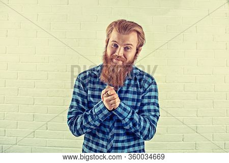 Portrait Of A Bearded Guy Laughing Smiling Funny Casual Blue Shirt Man Looking At You Camera Showing