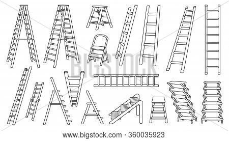 Stair Vector Outline Set Icon.vector Illustration Staircase On White Background .isolated Outline Se