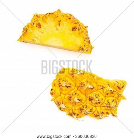 Ananas Piece  Isolated On White Background. Tropical Summer  Exotic Fruit Pineapple  Top View. Flat