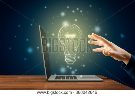 Creativity, Idea And Artificial Intelligence Concepts. Hands With Notebook And Graphics Light Bulb -