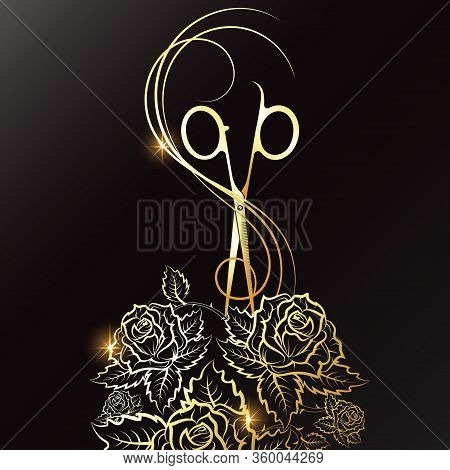 Golden Scissors Curl Hair And Roses Silhouette For Beauty Salon