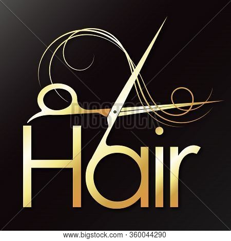 Hair Golden Scissors And Curl Hair Symbol For Beauty And Stylist