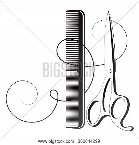 Scissors And Comb With Curl Hair Silhouette For The Stylist Of A Beauty Salon
