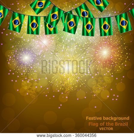 Bright Firework With Flags Of Brazil For Holidays. Background With Flag Of Brazil. Happy Brazil Day