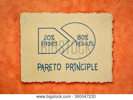 Pareto 80-20 principle - handwriting and sketch on a handmade rag paper, business, productivity and priorities concept