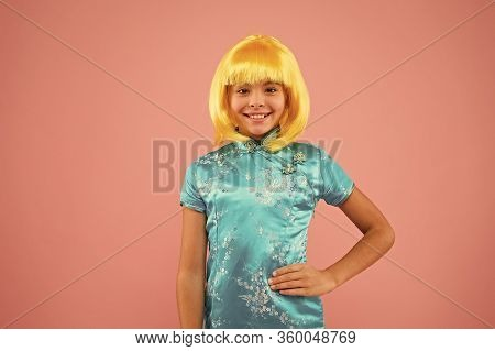 Eastern Trends For Teens. Pop Culture. Anime Fan. Cosplay Kids Party. Child Cute Cosplayer. Cosplay