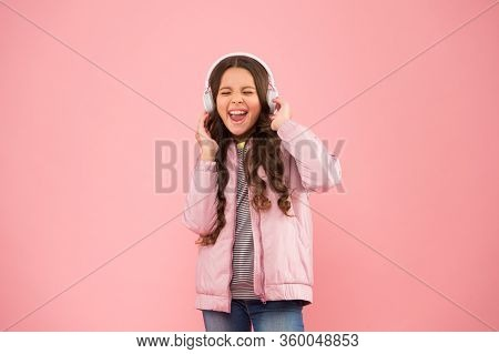 Full Of Emotions. Little Child Do Vocal On Song. Emotional Singer. Enjoying Song Playing In Headphon