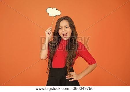 Think Positive. Her Thoughts. Never Know What She Is Thinking About. Smart Child With Party Cloud. P