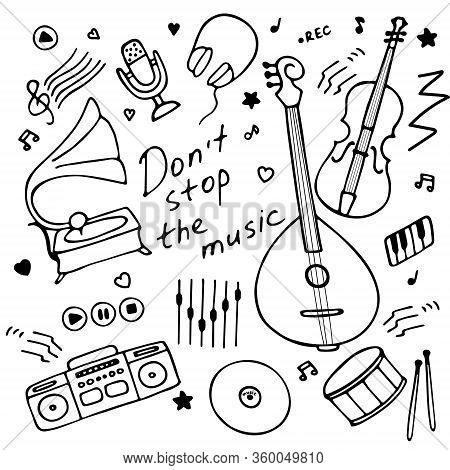 Music Instruments Icon Set For Print And Digital. Hand Drawn Graphics. Hand-written Inscription Don