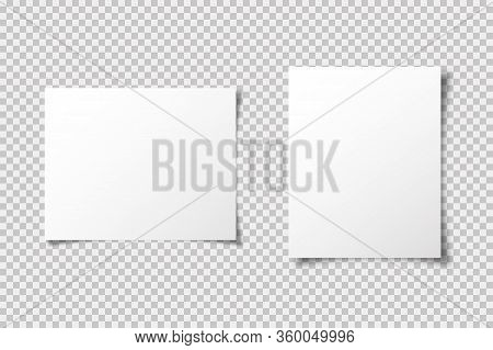 A4 Paper Mockup Vector Template With Shadow Isolated On Transparent Background. Graphic Element. Bla