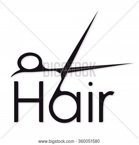 Hair Symbol With Scissors Silhouette For Beauty Salon And Hairdresser
