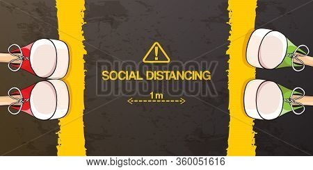 Social Distancing Concept Vector Illustration With Two Young Teenager Standing In Front Of Each Othe