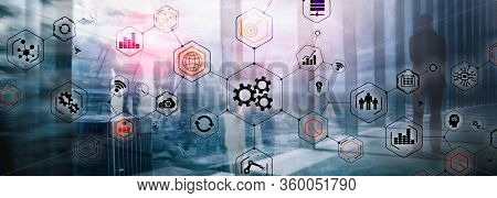 Gears Icons Engineering Manufacturing Automation Innovation Structure Abstract Concept.