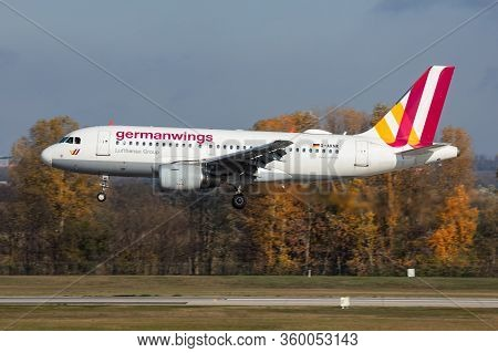 Budapest / Hungary - November 11, 2019: Germanwings Airbus A319 D-aknk Passenger Plane Arrival And L