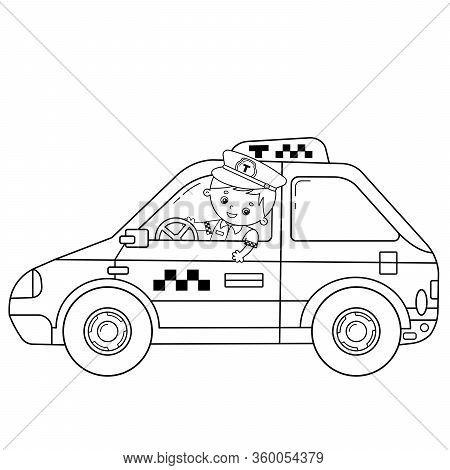 Coloring Page Outline Of Cartoon Taxi Driver With Car. Profession - Driver. Taxi. Image Transport Or