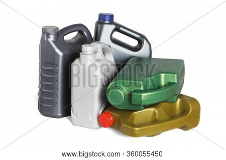 Assorted Plastic Containers for Engine oils on White Background