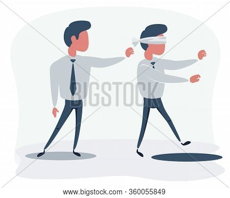 Business Man Pushing His Competitor To The Hole. Concept Of Competition, Sabotage And Danger Of The