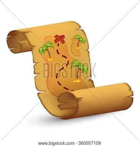 Old Pirates Treasure Map With An Island, Palms And Pathway. Vector Illustration Of Detailed Ancient