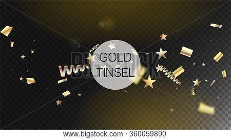 Modern Tinsel Confetti Isolated, Golden Celebration Foil. Horizontal Fairy Stardust Background. Cool