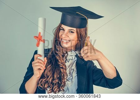 Portrait Closeup Beautiful Smile Latina Graduate Graduated Student Girl Young Woman In Cap Gown Show