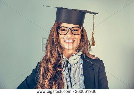 Portrait Closeup Beautiful Happy Latina Graduate, Graduated Student Girl, Young Woman In Cap Gown Tu