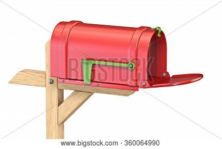 Empty Mailbox With Flag Down 3d Render Illustration Isolated On White Background