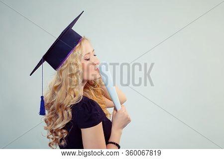 Portrait Closeup Beautiful Happy Glad Latina Graduate, Graduated Student Girl Young Woman In Cap Gow