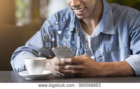 Mobile Phone Functions. Smiling Black Guy Using Mobile Phone, Collage With Functional Buttons, Cropp