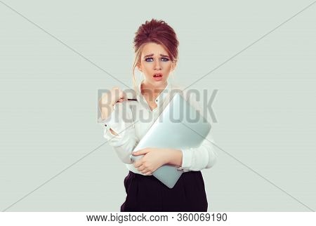 You Mean Me? Portrait Angry Unhappy Annoyed Young Business Woman Holding Laptop Pointing With Pen Ge