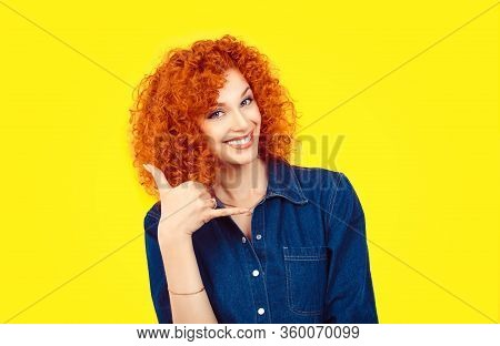 Give Me A Call. Closeup Portrait Redhead Curly Hair Woman Excited Happy Student Making Showing Call