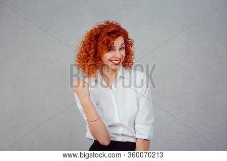 Happy Winner. Closeup Half Body Portrait Redhead Curly Woman In White Formal Shirt Exults Pumping Fi