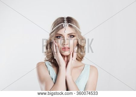 Beauty Queen Bride Woman With Bright Pink With Tikka Indian Jewelry On Head Hands Near Her Cheek Loo