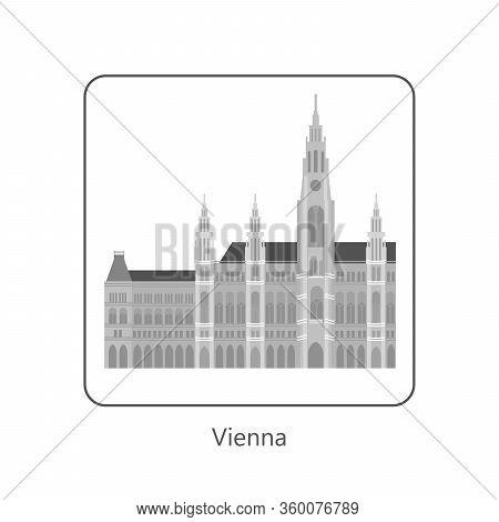 Famous European Landmarks. Monochrome Symbol Of Vienna. Isolated On White. Flat Art Vector Illustrat