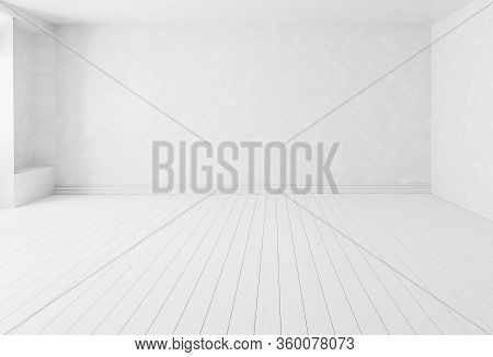 Blank White Interior Room Background , Empty White Walls Corner And White Wood Floor Contemporary Fo