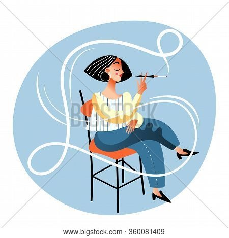 Vector Character Illustration Of Woman Smoker. Young Girl Smokes Cigarette Holder Or Mouthpiece. Tob