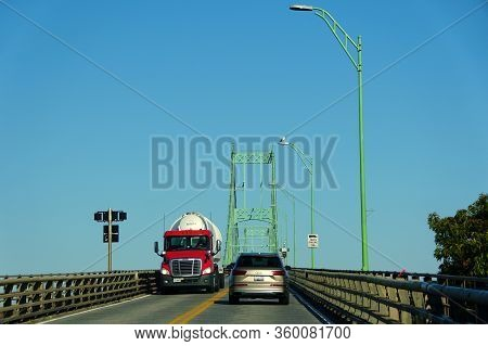 Ontario, Canada - October 27, 2019 - The View Of The Traffic On Thousands Islands Bridge Crossing St