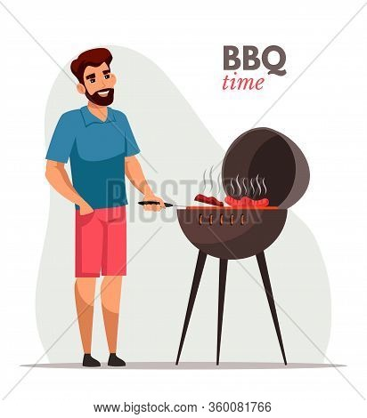Young Man Frying Barbecue Flat Color Illustration. Cheerful Cook In Apron Grilling Sausages And Shas