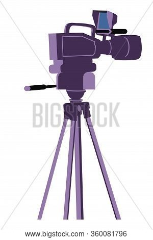 Professional Digital Video Camera On Tripod Isolated On White Background. Movie Cinema, Shooting Tv