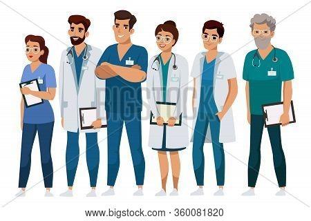 Friendly Smiling Professional Medical Staff. Doctor, Assistant, Nurse Hospital Team Presentation. Ma
