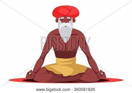 Old Bearded Grey-haired Yogi Sitting In Lotus Pose Meditating Doing Breathing Yoga Exercise Techniqu