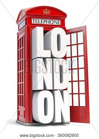 Red London telephone booth with text London isolated on white background. 3d illustration