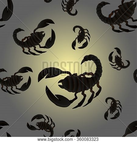 Seamless Pattern With Vector Colorful Scorpion Illustrations On A Beautiful Background. Suitable For