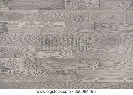 Grey White Wood Floor Texture Background Viewed From Above. Neutral Whitewashed Hardwood Stain Gives