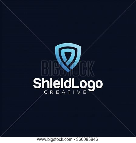 Shield Tech Logo Line Design Template . Security Logo Vector Stock . Secure Tech Logo Design Icon .g